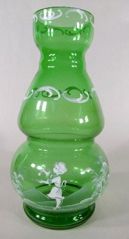 11: Mary Gregory Style Green Glass Vase