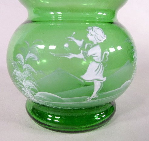 11: Mary Gregory Style Green Glass Vase - 2