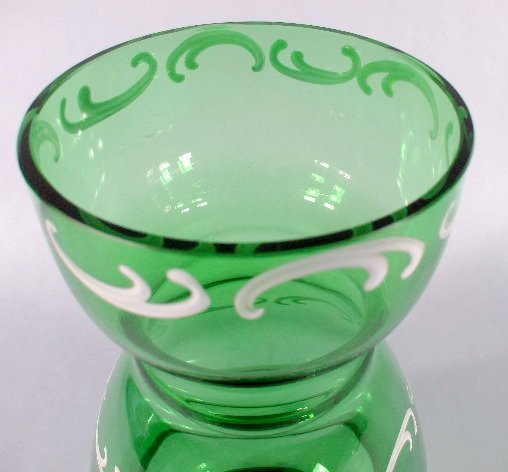 11: Mary Gregory Style Green Glass Vase - 3