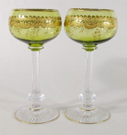 15: Pair Green & Clear Wine Glasses