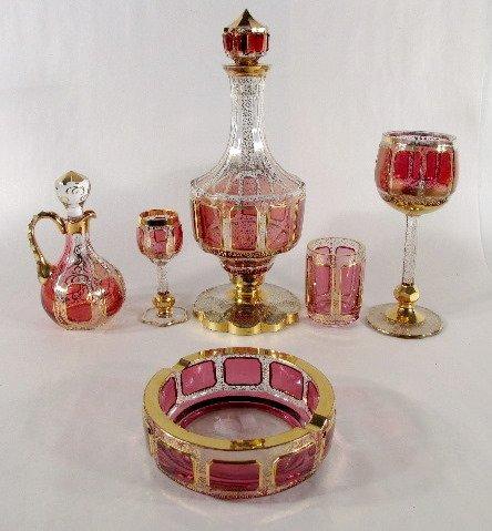 16: 6 Glass Items w/Cranberry Panels
