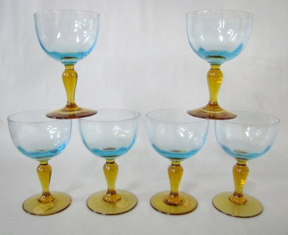 23: 6 Wine Glasses, Blue on Amber Stems