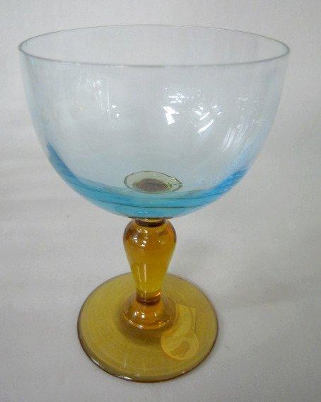 23: 6 Wine Glasses, Blue on Amber Stems - 2