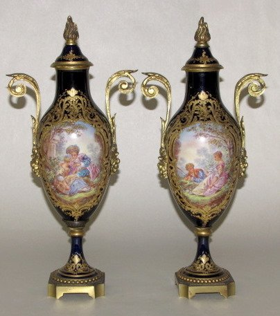 104: Pr. Bronze & Porcelain Covered Urns, France