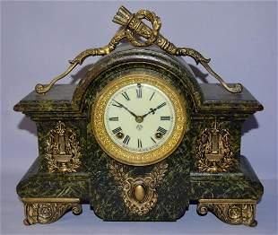 """Antique Ansonia """"Louvre"""" Iron Case Mantel Clock"""