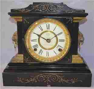 Ansonia Enameled Iron Statue Mantel Clock