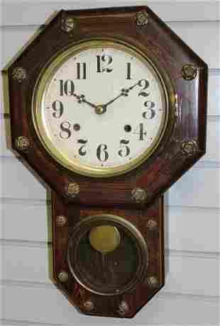 Antique Aichi Clock Co. Octagon Wall Clock