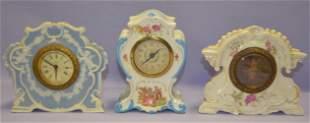 Lot of 3 Small Porcelain Ansonia Mantel Clock