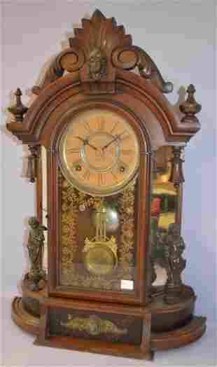 Antique Gilbert Mirror Sided Parlor Clock