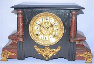 Antique Gilbert Enameled Wood Mantle Clock