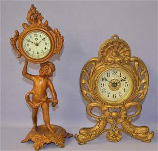 Lot of 2 Novelty Metal Mantle Clocks