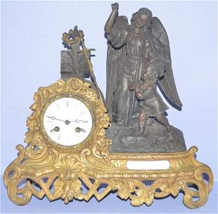 Antique French Japy Ferris Statue Mantle Clock