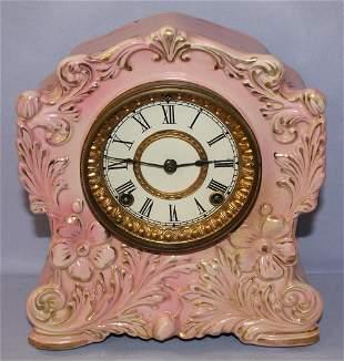 """Antique Ansonia """"Tablet"""" Porcelain Mantle Clock"""