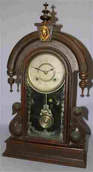 "Ansonia ""Parisian"" Walnut Kitchen Mantle Clock"