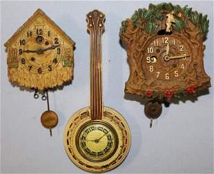 Lot of 3 Pendulettes & Lux Banjo Wall Clocks