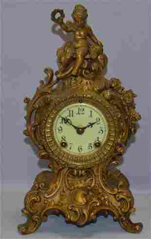 "Ansonia ""CYGNET"" Metal Case Mantle Clock"