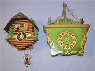 Lot of 2 Vintage Animated Wall & Shelf Clocks
