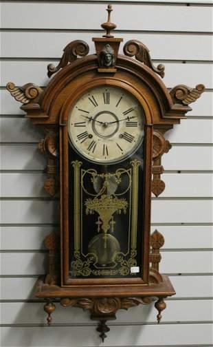 Antique Gilbert Columbia Carved Oak Wall Clock