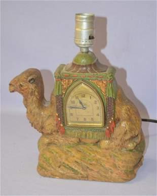 Vintage Camel Lamp Deluxe Art Mantle Clock