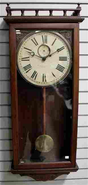 Antique Gilbert Weight Driven Walnut Wall Clock