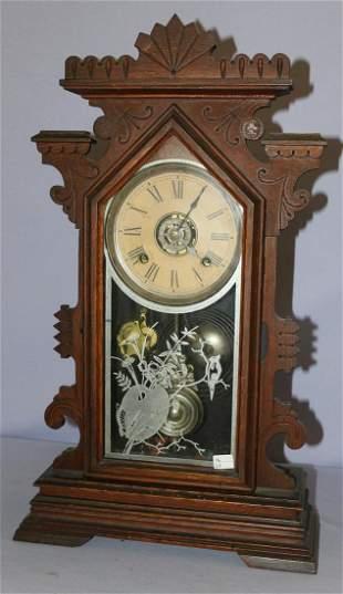 "Ansonia ""Clarence"" Oak Kitchen Mantle Clock"