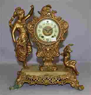 "Gilbert ""Crown"" Metal Figure Mantle Clock"