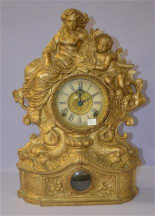 Ingraham Figural Metal Front Mantle Clock