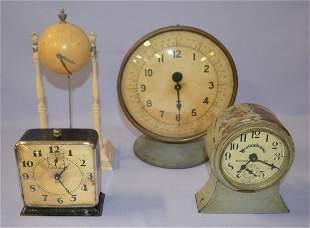 Lot of 4 Metal Case 2 Alarm Clocks 2 Desk Clock