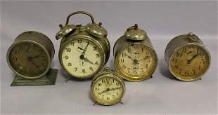 Lot of 5 Metal Case Alarm Clock 2 With Bells