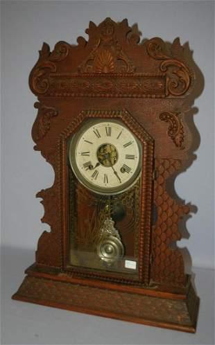 Antique Ansonia Carved Oak Kitchen Mantle Clock
