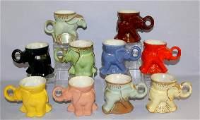 10 Frankoma, G.O.P & DEM Mugs Pottery. 9- GOP 1969 thru