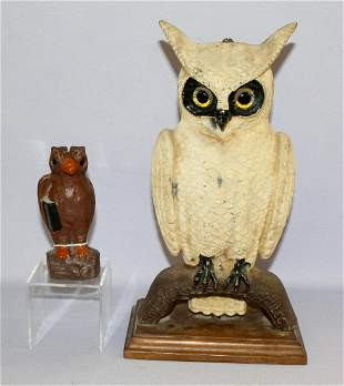 2 Metal Owl Banks Swisher Soules & Unmarked. 1.)