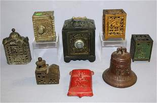 "8 Antique Cast Metal Penny Banks. 1.) ""This Old Liberty"