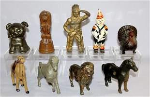 9 Cast Iron Still Banks Antique. 1.) Prancing Horse,