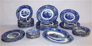 "48 PC Flow Blue Dinnerware Set, ""Matteau"" Pattern. 8"
