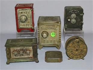Lot of 6 Vintage  Metal & Tin Litho Banks: 1)Tiny mite