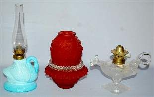 2 Early Fiqural Lamps & Fenton Fairy Lamp. 1.) Opaque