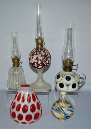 5 Pieces Art Glass, 3 Kerosene Lamps & 2 Other.
