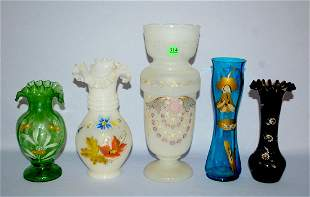 5 Victorian Enamel Decorated Vases: 1.) Amethyst glass