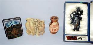 4 Oriental Collectibles, Sodalite, Soapstone, Lacquer