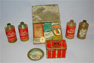 15 Collectible Advertising Tins: Beer, Tea +: 1.) 4 tin