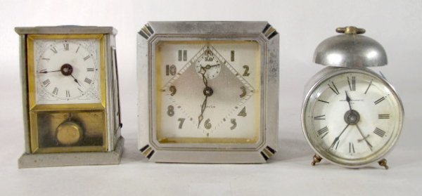 9: 3 Novelty Clocks Waterbury, Westclox & Pendulette