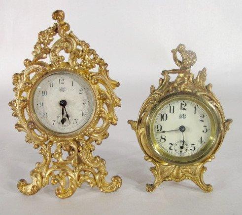 11: 2 Jennings Bros. Mfg. Ormolu G.P. Novelty Clocks