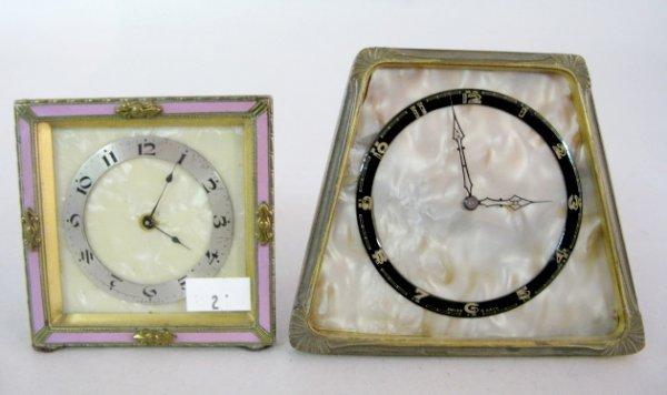14: 2 Desk Clocks w/Back Stands, German & Swiss