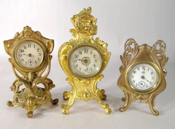 17: 3 Metal Art Nouveau Novelty Clocks