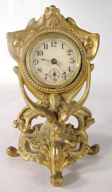 17: 3 Metal Art Nouveau Novelty Clocks - 2