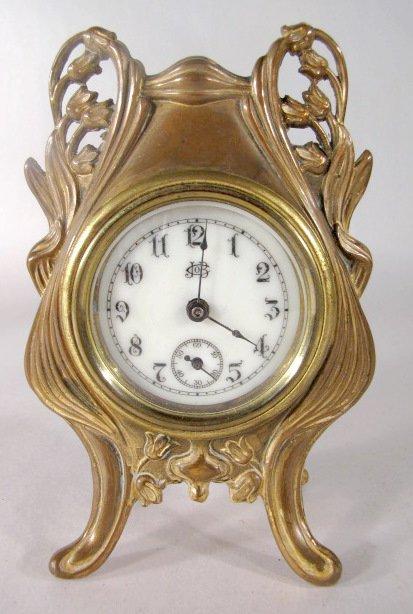 17: 3 Metal Art Nouveau Novelty Clocks - 6