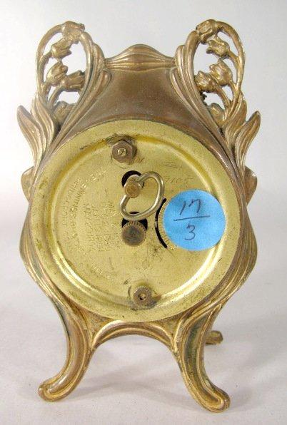 17: 3 Metal Art Nouveau Novelty Clocks - 7