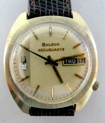 19: Bulova Accuquartz 14K Wrist Watch w/Diamond
