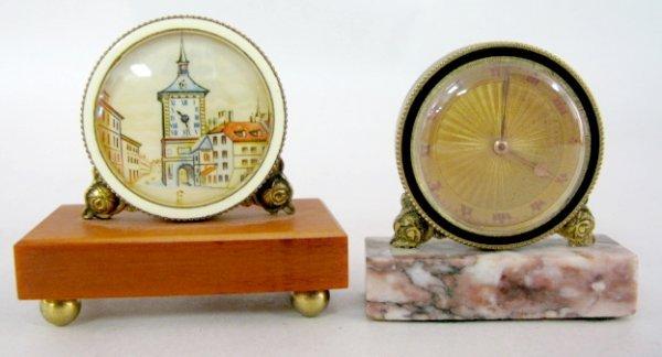 21: 2 Desk Clocks, 1 w/Marble Base, 1 w/Resin Base